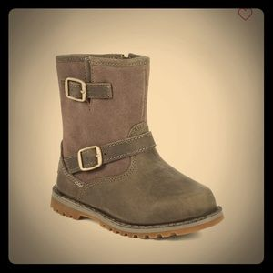Uggs Gray Leather and Suede Hardwell Buckle Boots